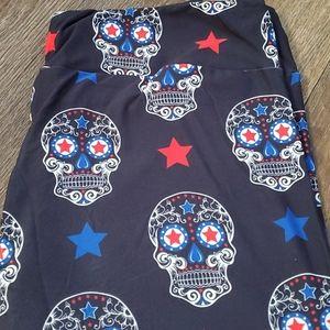Pants - Red white & blue sugar skull leggings